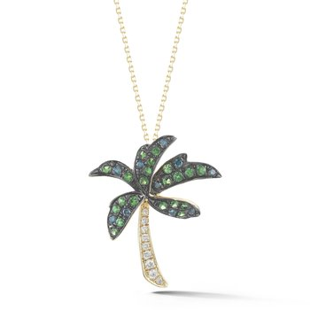 PALM TREE NECKLACE WITH DIAMONDS 0.11CT, GREEN GARNET 0.24CT, AND 0.08CT BLUE DIAMONDS SUSPENDED ON A 18 INCH CHAIN