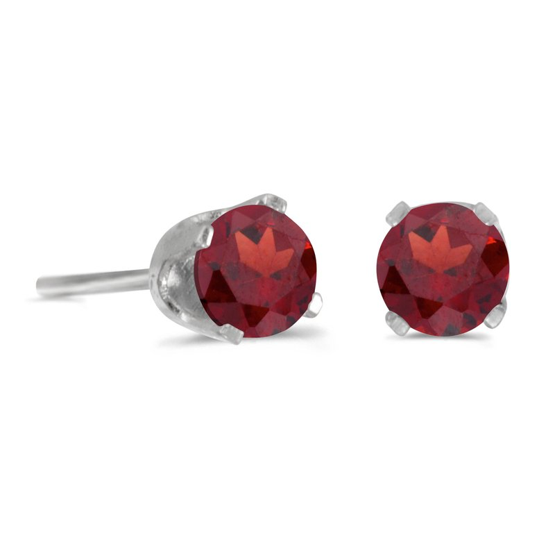 Color Merchants 14k White Gold 4 mm Round Garnet Stud Earrings