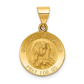 14k Polished and Satin Our Lady of Sorrows Medal Hollow Pendant