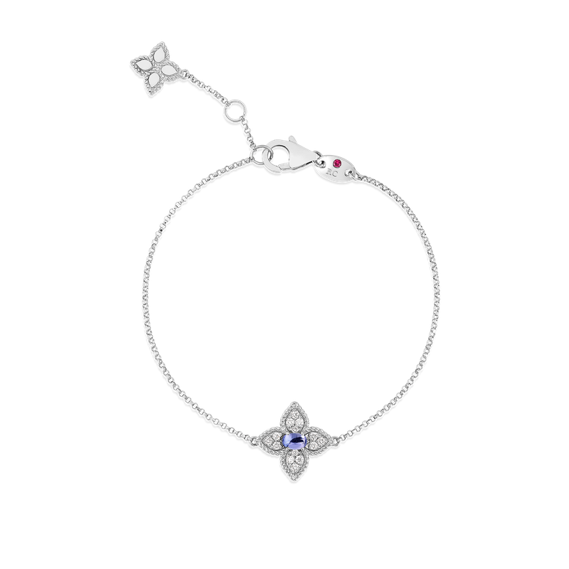 Roberto Coin 18K Diamond & Tanzanite Single Flower Bracelet