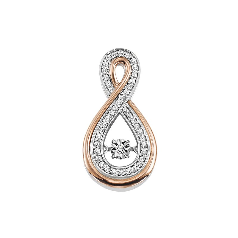 Rhythm of Love 10K Rose & White Gold Diamond ROL Pendant 1/7 ctw