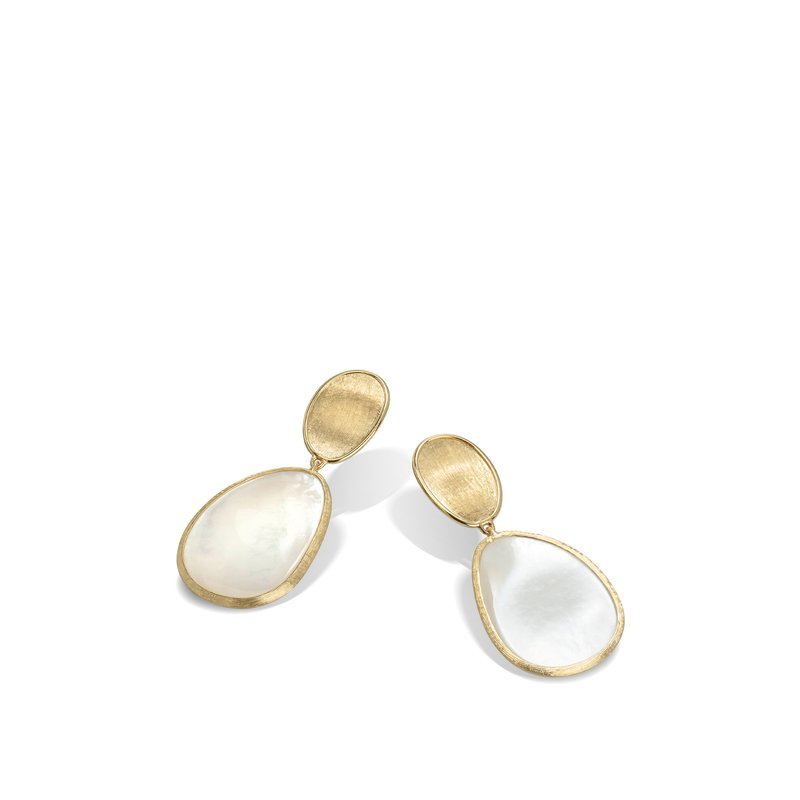 Marco Bicego  Lunaria Petite Gold & White Mother of Pearl Earrings
