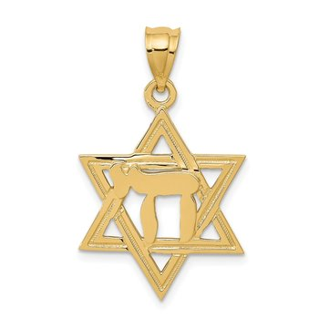 14k Solid Polish Chai in Star of David Charm
