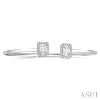 fusion diamond open cuff bangle