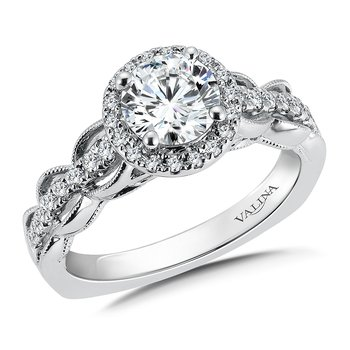 Diamond Halo Engagement Ring Mounting in 14K White Gold (.28 ct. tw.)