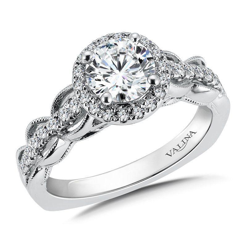 Valina Bridals Diamond Halo Engagement Ring Mounting in 14K White Gold (.28 ct. tw.)