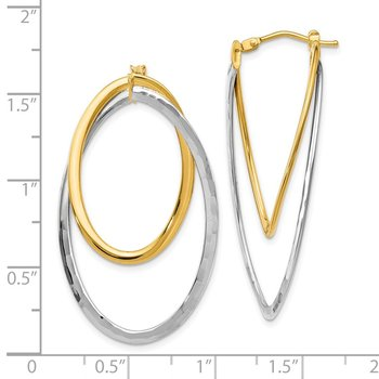 Leslie's 14k Two-tone Twisted Hinged Hoop Earrings