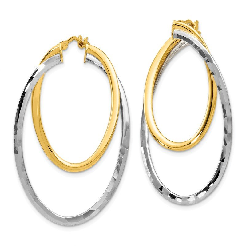 Leslie's Leslie's 14K Two-tone Twisted Hinged Hoop Earrings