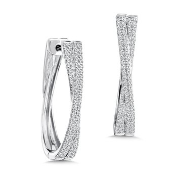 Pave set Diamond Crossover Hoops in 14k White Gold (3/4 ct. tw.) JK/I1