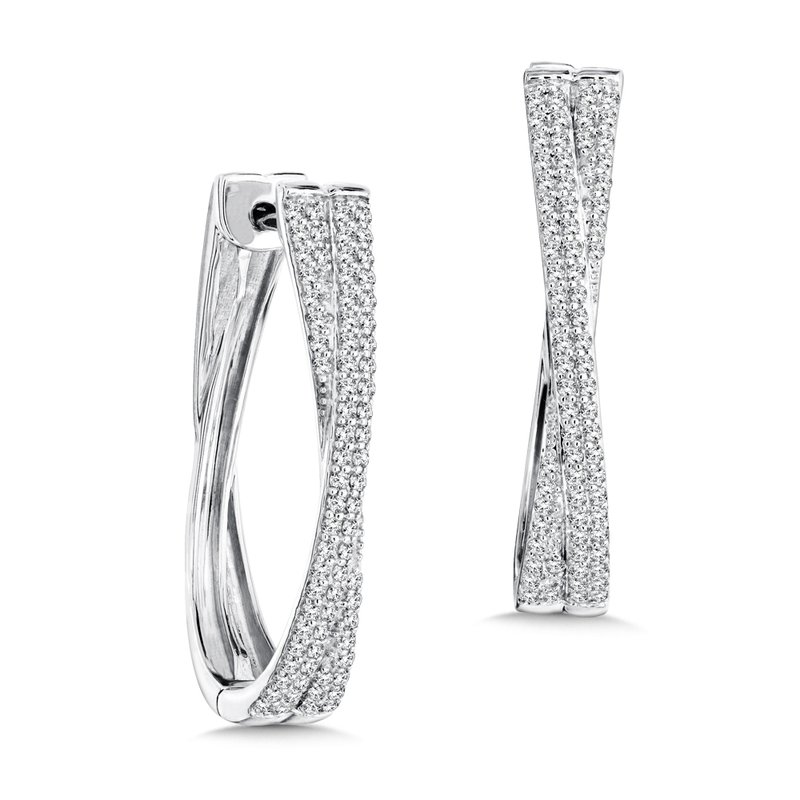 SDC Creations Pave set Diamond Crossover Hoops in 14k White Gold (3/4 ct. tw.) JK/I1