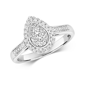 Diamond Cluster Ring Pear