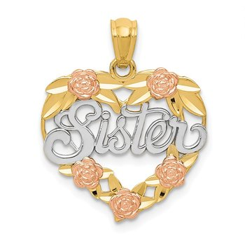 14k Two-tone w/White Rhodium SISTER Heart Pendant
