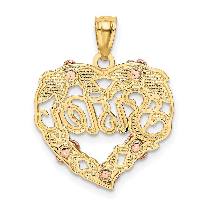Quality Gold 14k Two-tone w/White Rhodium SISTER Heart Pendant