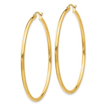 14K Polished 2mm Lightweight Tube Hoop Earrings