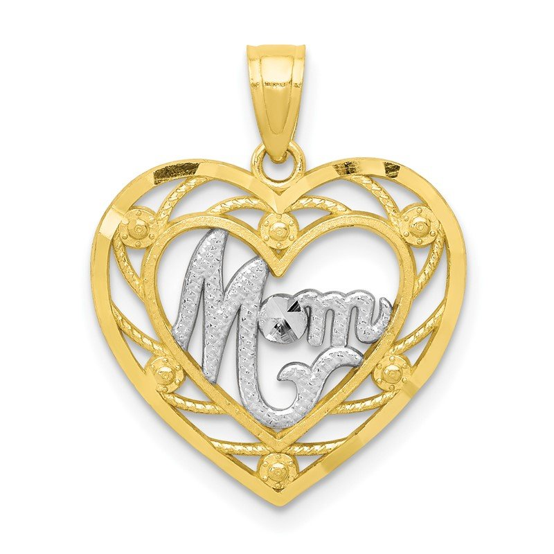 Arizona Diamond Center Collection 10K & Rhodium MOM Heart Charm