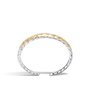Legends Naga 11MM Flex Cuff in Silver and Brushed 18K Gold