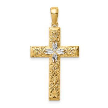 14K White Rhodium D/C Cross Pendant