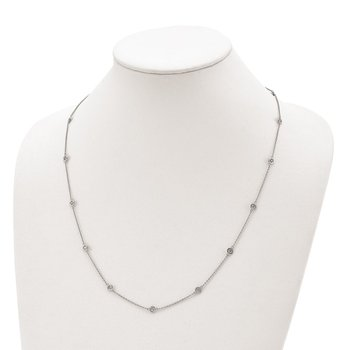 Sterling Silver 15 Station CZ 24in Necklace