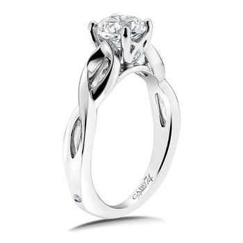 Solitaire Engagement Ring Mounting in 14K White Gold with Platinum Head (.04  ct. tw.)