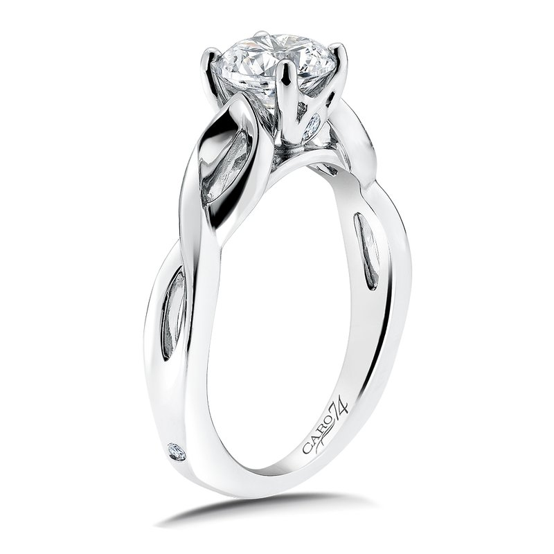 Caro74 Solitaire Engagement Ring Mounting in 14K White Gold with Platinum Head (.04  ct. tw.)