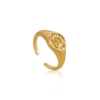 Emblem Adjustable Signet Ring