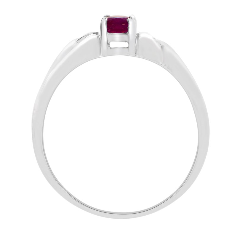 Color Merchants 14k White Gold Oval Ruby Ring