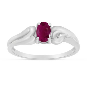 14k White Gold Oval Ruby Ring