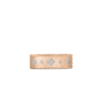 18KT GOLD SATIN FINISH RING WITH FLEUR DE LIS DIAMONDS