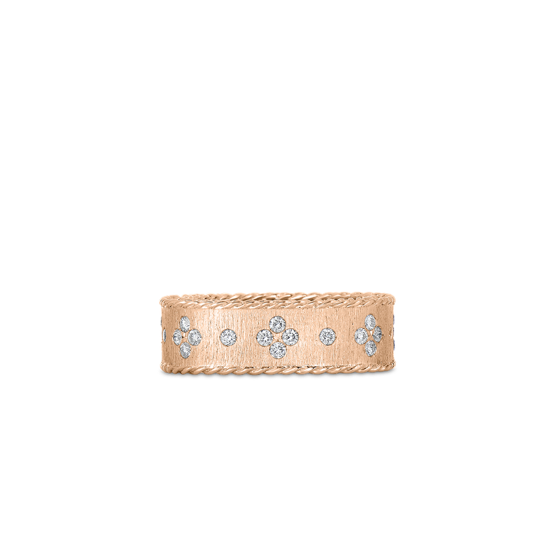 Roberto Coin 18KT GOLD SATIN FINISH RING WITH FLEUR DE LIS DIAMONDS