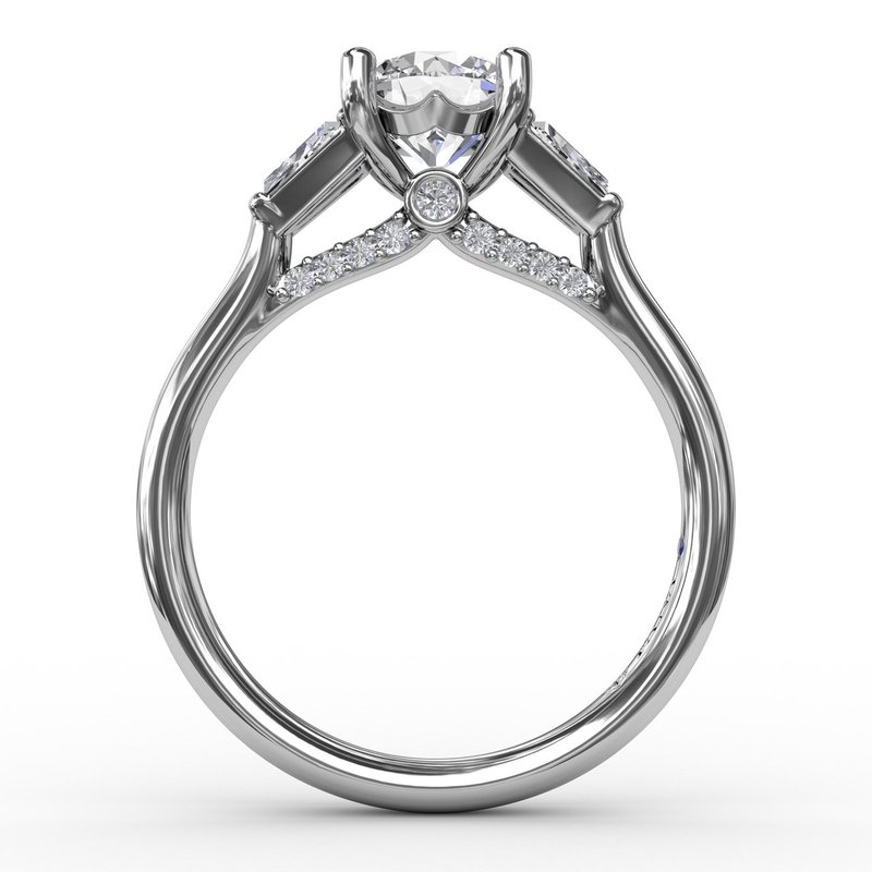 Fana Three-Stone Engagement Ring With Tapered Baguettes