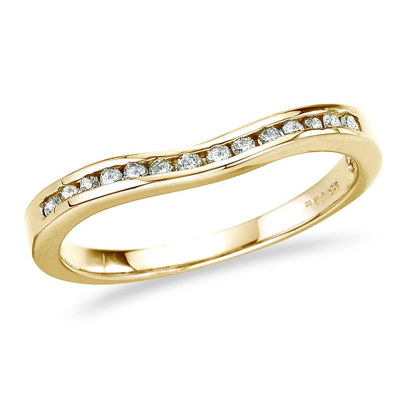 Color Merchants 14K Yellow Gold .14 ct Diamond Wave Band Ring