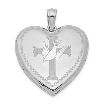 Sterling Silver Rhodium-plated Dove with Cross Heart Locket