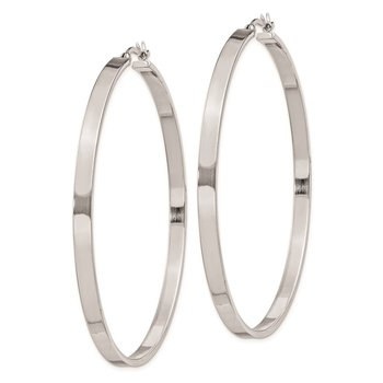 Sterling Silver Rhodium-plated 3.5x60mm Hoop Earrings