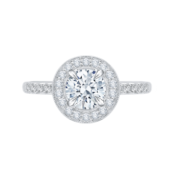 18K White Gold Round Diamond Halo Engagement Ring with Euro Shank (Semi-Mount)