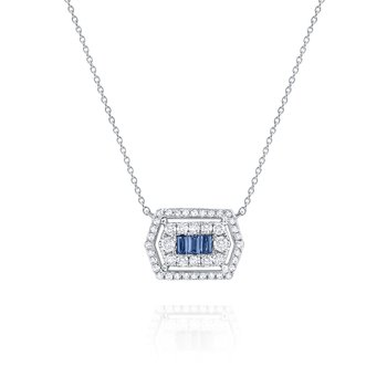 Blue Sapphire & Diamond Hexagonal Mosaic Pendant Necklace Set in 14 Kt. Gold