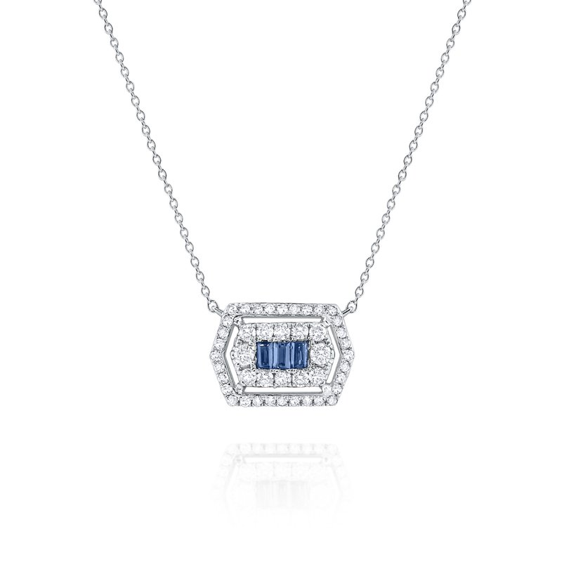 MAZZARESE Fashion Blue Sapphire & Diamond Hexagonal Mosaic Pendant Necklace Set in 14 Kt. Gold