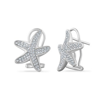14K starfish earrings with 116 diamonds 0.36ct 17mm long x 14mm wide