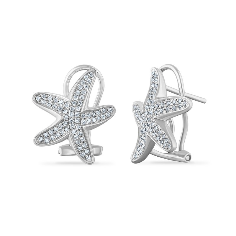 Shula NY 14K starfish earrings with 116 diamonds 0.36ct 17mm long x 14mm wide