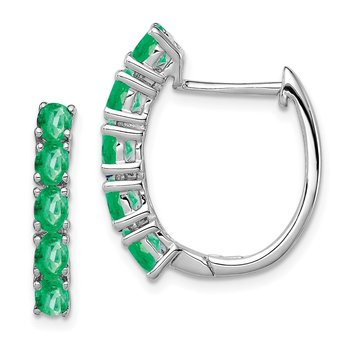Sterling Silver Rhodium-plated Polished Emerald Hinged Hoop Earrings