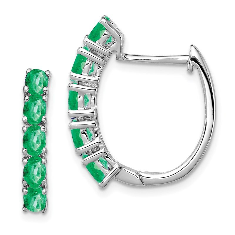 Quality Gold Sterling Silver Rhodium-plated Polished Emerald Hinged Hoop Earrings