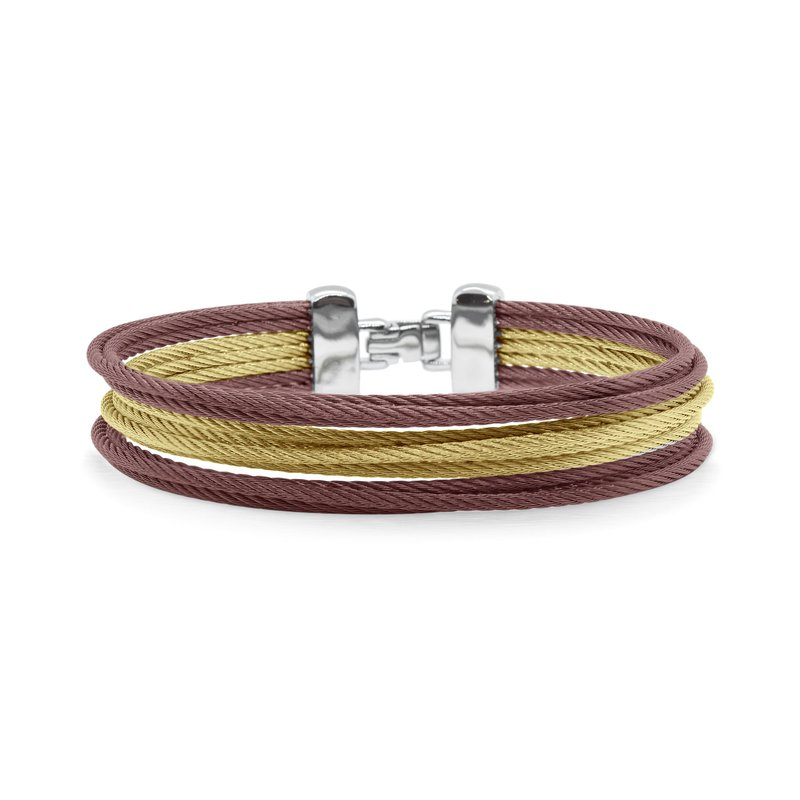 ALOR Yellow & Burgundy Cable Triple Stack Bracelet