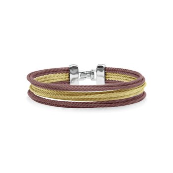 Yellow & Burgundy Cable Triple Stack Bracelet