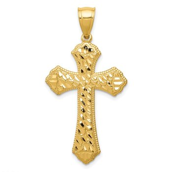 14k Diamond-cut Budded Cross Pendant
