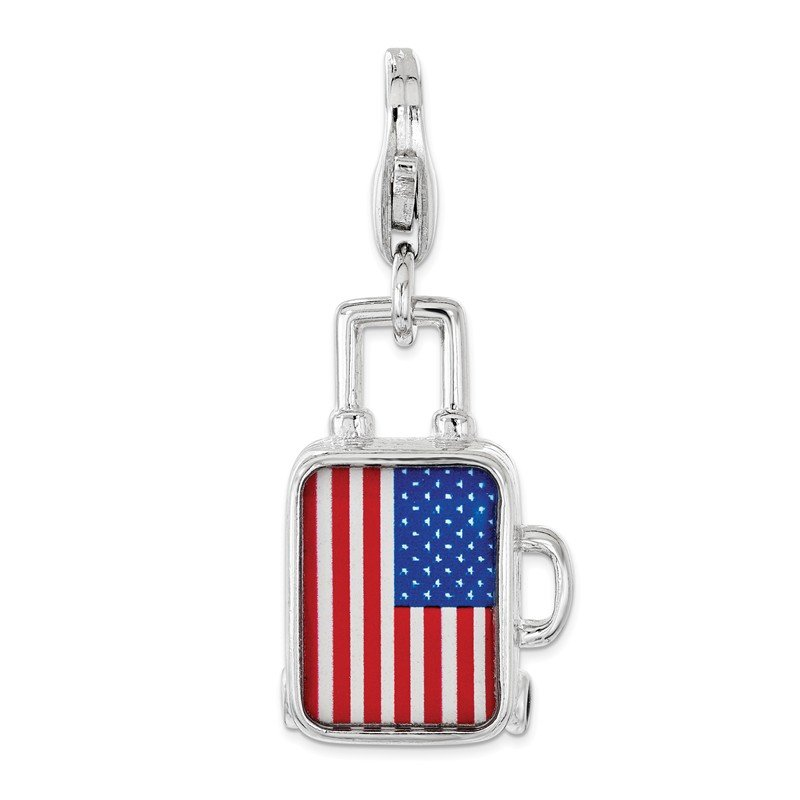 Quality Gold Sterling Silver Enameled American Flag Suitcase Lobster Clasp Charm