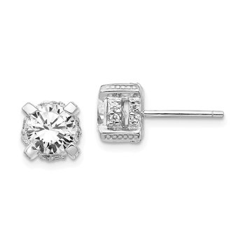 Cheryl M Sterling Silver Rhodium Plated CZ Post Earrings
