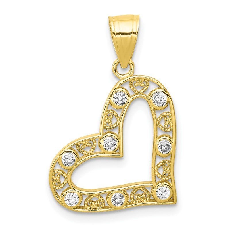 Lester Martin Online Collection 10k CZ Filigree Heart Pendant