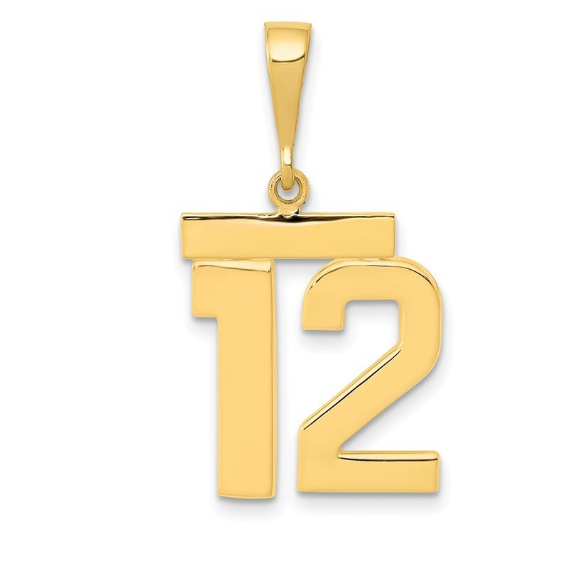 Quality Gold 14k Medium Polished Number 12 Charm