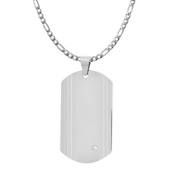 Steel with Single CZ Dog Tag Pendant