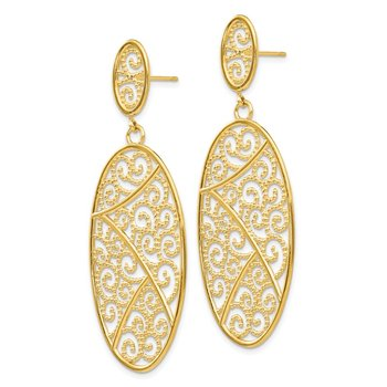 14K Oval Dangle Earrings