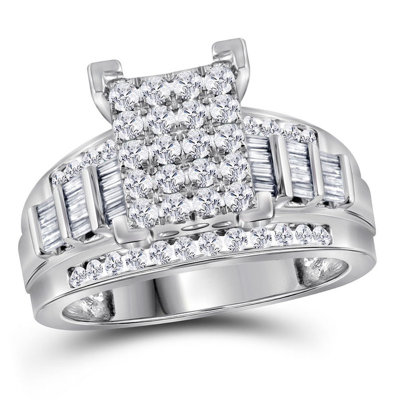 Kingdom Treasures 10kt White Gold Womens Princess Diamond Cluster Bridal Wedding Engagement Ring 1.00 Cttw